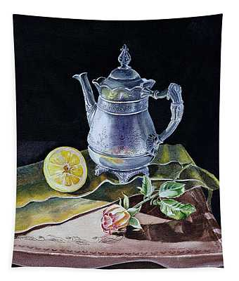 Still Life With Lemon And Rose Tapestry