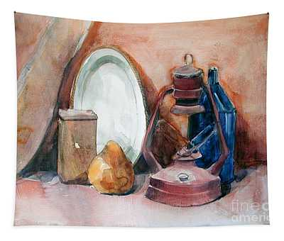Watercolor Still Life With Rustic, Old Miners Lamp Tapestry