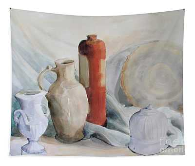 Watercolor Still Life With Pottery And Stone Tapestry
