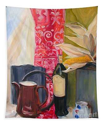 Oil Painting Still Life With Red Cloth And Pottery Tapestry
