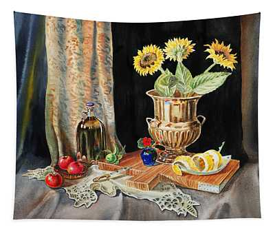 Still Life With Sunflowers Lemon Apples And Geranium  Tapestry