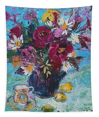 Still Life With Tea Cup, 2013, Oil On Board Tapestry