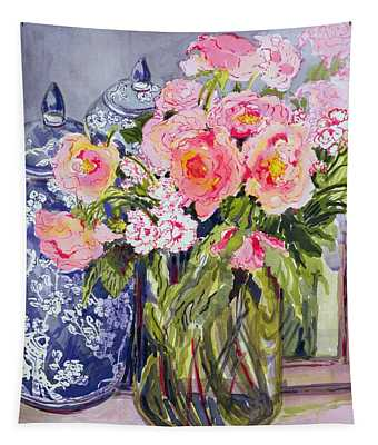 Still Life With Two Blue Ginger Jars Tapestry