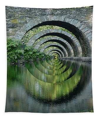 Stone Arch Bridge Over Troubled Waters - 1st Place Winner Faa Optical Illusions 2-26-2012 Tapestry