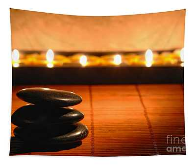Stone Cairn And Candles For Quiet Meditation Tapestry