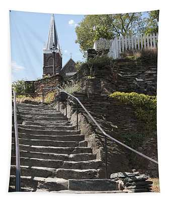 Stone Steps And Saint Peters Church At Harpers Ferry Tapestry