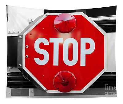 Stop Bw Red Sign Tapestry