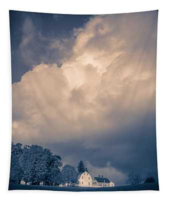 Storm Coming To The Old Farm Tapestry