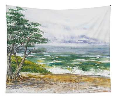 Stormy Morning At Carmel By The Sea California Tapestry
