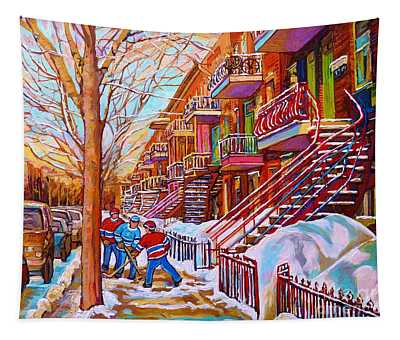 Street Hockey Game In Montreal Winter Scene With Winding Staircases Painting By Carole Spandau Tapestry