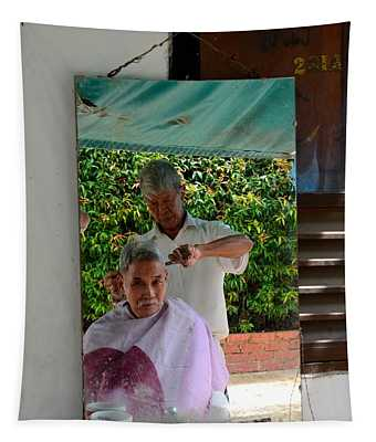 Street Side Barber Cuts Client Hair Singapore Tapestry