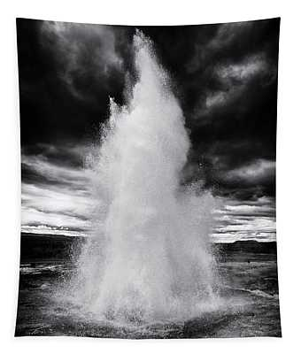 Strokkur Geyser Iceland Black And White Tapestry