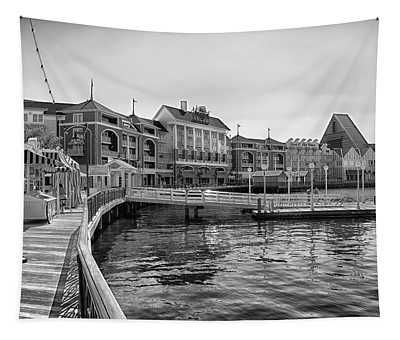Strolling On The Boardwalk In Black And White Walt Disney World Tapestry
