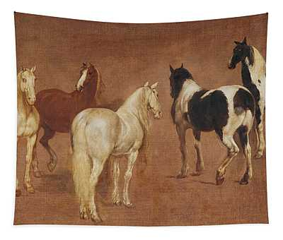 Study Of Five Horses Oil On Canvas Tapestry