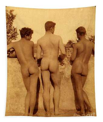 Study Of Three Male Nudes Tapestry