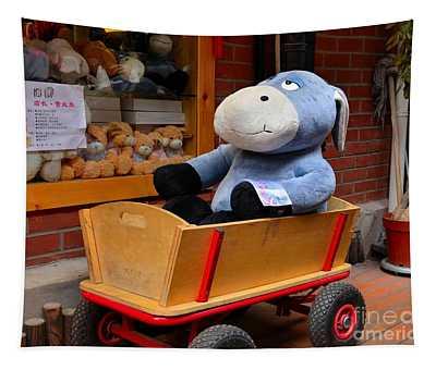 Stuffed Donkey Toy In Wooden Barrow Cart Tapestry