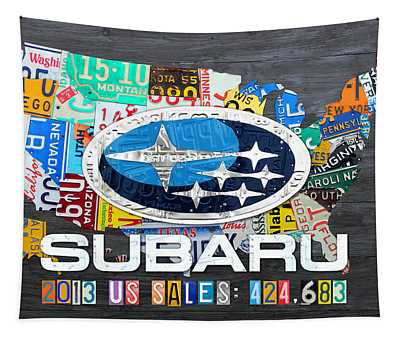Subaru License Plate Map Sales Celebration Limited Edition 2013 Art Tapestry