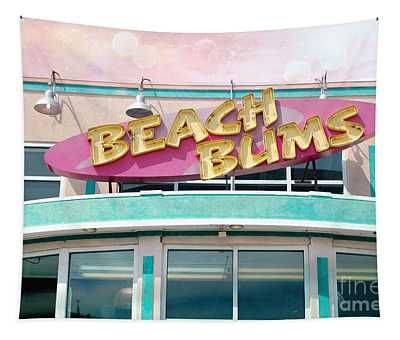 Summer Cottage Beach Bums Myrtle Beach Art Deco Sign Tapestry