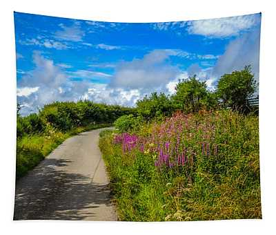 Summer Flowers On Irish Country Road Tapestry