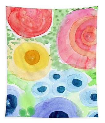 Summer Garden Blooms- Watercolor Painting Tapestry