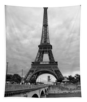 Summer Storm Over The Eiffel Tower Tapestry