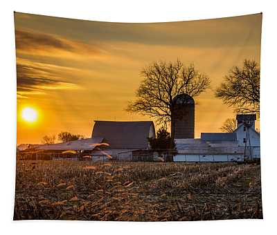 Sun Rise Over The Farm Tapestry