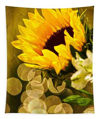 Sunflower And The Lights Tapestry