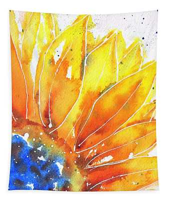 Sunflower Blue Orange And Yellow Tapestry