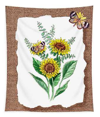 Sunflowers And Butterflies Tapestry