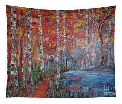 Sunlit Birch Pathway Tapestry