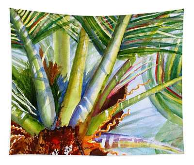 Sunlit Palm Fronds Tapestry