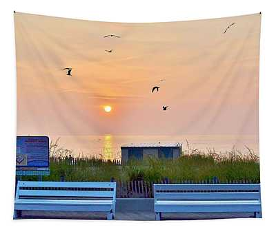 Sunrise At Rehoboth Beach Boardwalk Tapestry