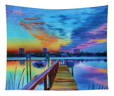Sunrise On The Dock Tapestry