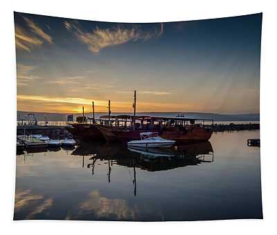 Sunrise Over The Sea Of Galilee Tapestry