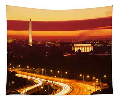 Sunset, Aerial, Washington Dc, District Tapestry