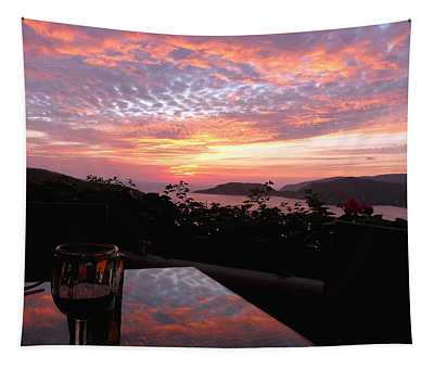 Sunset Over Zihuatanejo Bay Tapestry