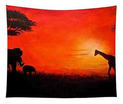 Sunset At Serengeti Tapestry