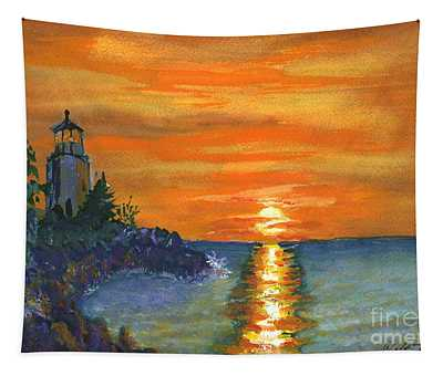 Sunset At The Lighthouse Tapestry