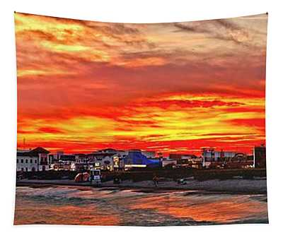 Sunset At The Music Pier Tapestry