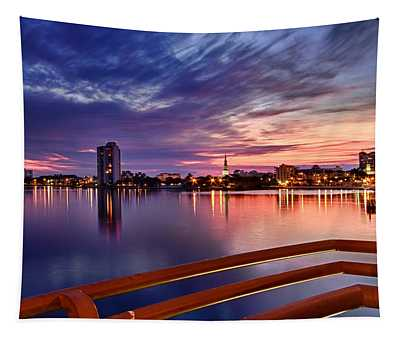 Sunset Balcony Of The West Palm Beach Skyline Tapestry