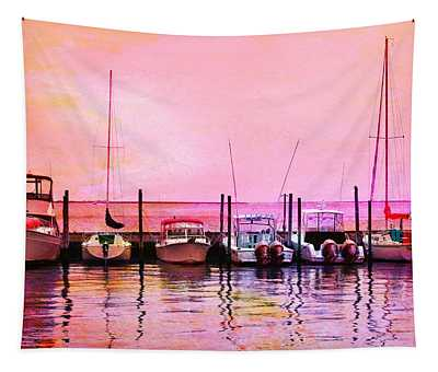 Sunset Boats Tapestry