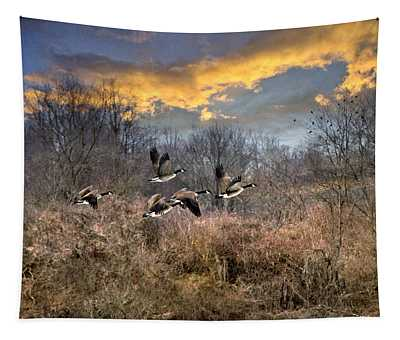 Sunset Geese Tapestry