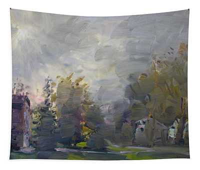 Sunset In A Foggy Fall Day Tapestry