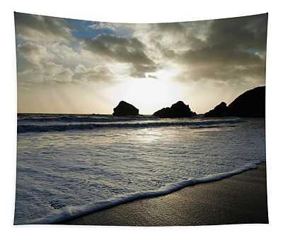 Sunset On Ballydowane Beach, Bunmahon Tapestry