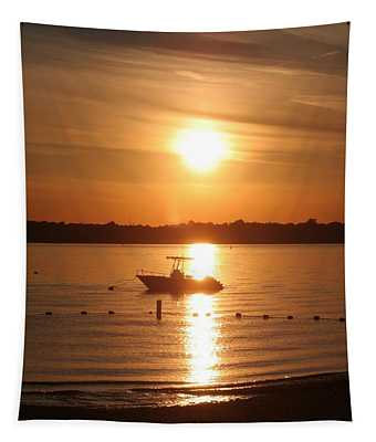 Sunset On Boat Tapestry