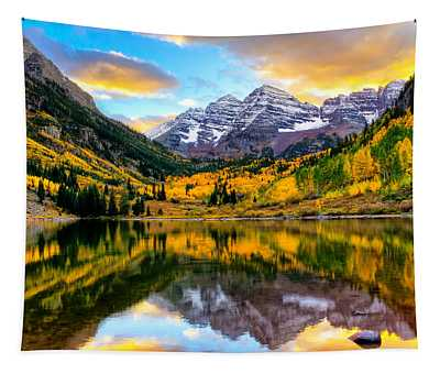 Sunset On Maroon Bells Tapestry