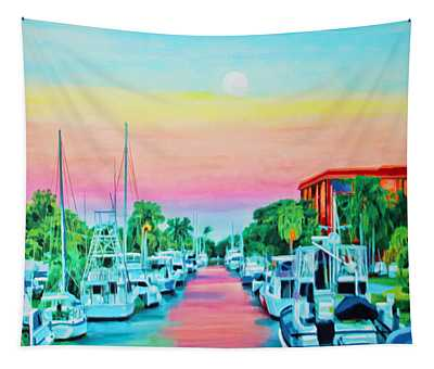 Sunset On The Canal Tapestry