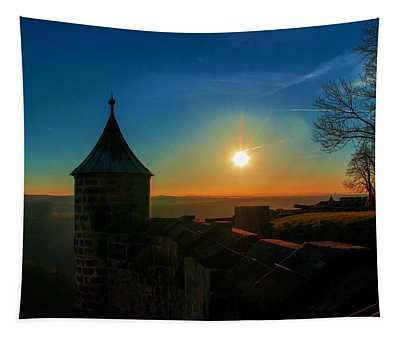 Sunset On The Fortress Koenigstein Tapestry