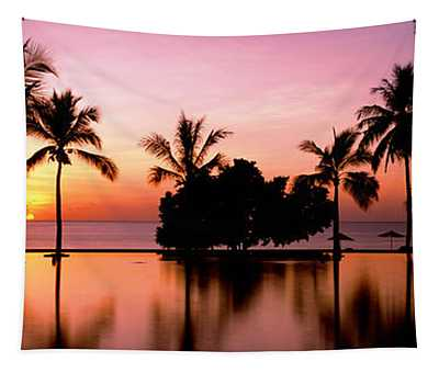 Sunset Over Hotel Pool, Lombok, West Tapestry