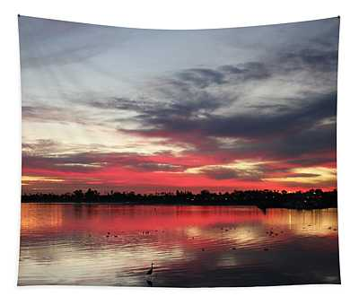 Sunset Over Mission Bay  Tapestry